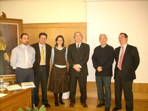 Patricial Rosales with PhD committee: Juan Manuel Bueno (U. Murcia), Luis Jimenez del Barco (U. Granada), Rob van der Heijde (Vrije U, Amsterdam), Santiago Mar (U. Valladolid) and Ignacio Jiménez-Alfaro (FJD-U Autónoma Madrid)