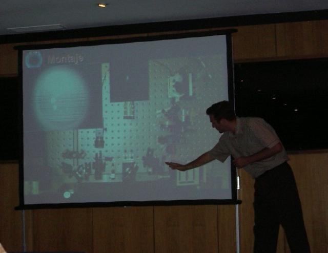 Carlos presenting  his Young Investigator Award from the Spanish Optical Society (SEDO), July 2003